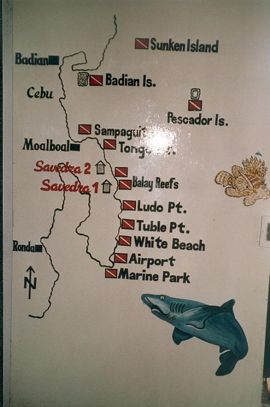 The dive spots in Moalboal